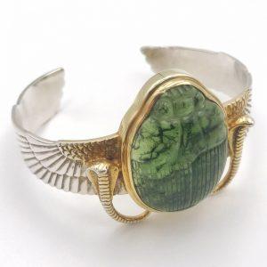 Moldavite Scarab Wing Bracelet